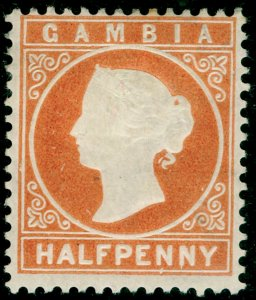 GAMBIA SG10B, ½d orange, M MINT. Cat £19. WMK CC UPRIGHT.