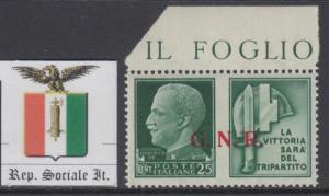 ITALY RSI (Social Rep) Sassone n.16 War Propaganda MNH** MARGIN SHEET