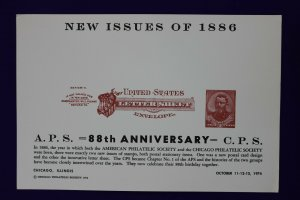 APS CPS 1974 US letter sheet envelope reprint 1886 U293 expo Souvenir card page