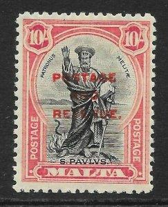 MALTA SG192 1928 10/= BLACK & CARMINE MTD MINT