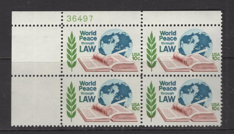 US 1975 World Peace Through Law P# Block of 4 Stamps Scott 1576 MNH