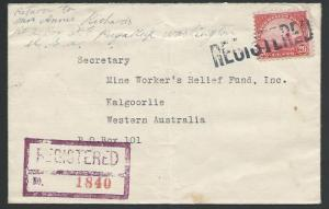 USA 1934 20c Golden Gate on cover PAYULLUP, Wash to West Australia.........62461