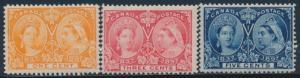 CANADA #51, 53, 54 MINT OG NH 1¢, 3¢, 5¢ JUBILEE 1897 CV $255 BU2134