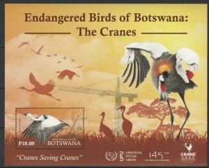 Botswana 2019 Birds Cranes MNH Block