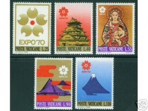 VATICAN Scott 479-83 MNH** Expo 70 Japan