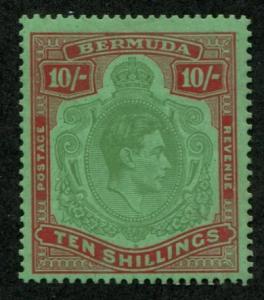 Bermuda SC# 126a SG# 119a George VI 10sh p14 blue-green dp red on green MLH