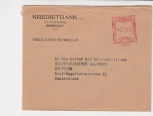 Belgium Kredietbank Brussels Machine Cancel Airmail Stamps Cover ref R 17661