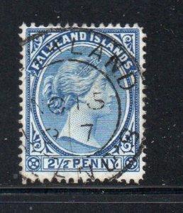 Falkland Islands Sc 15 1894 2 1/2d ultra Victoria stamp used