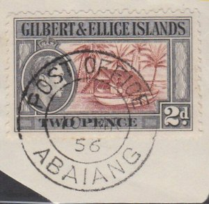 GILBERT & ELLICE IS GVI on 1956 piece POST OFFICE / ABAIANG cds.............N483