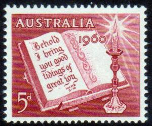 AUSTRALIA 1960 Christmas Issue 5d Carmine Red Bible MNH