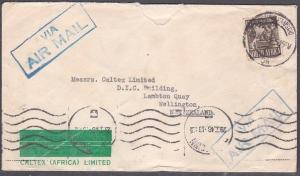 SOUTH AFRICA 1946 1/3d rate airmail cover Johannesburg to New Zealand........719