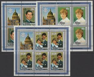 NIUE SG444/6 1981 YEAR FOR DISABLED PERSONS SHEETLETS MNH
