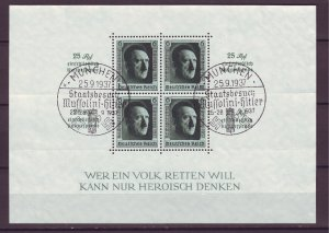 Z841 JLstamps 1937 nazi germany s/s used #b106 hitler swatika cancels see detail