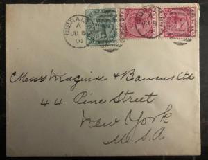 1901 Gibraltar Cover to New York USA A26 Duplex Cancels