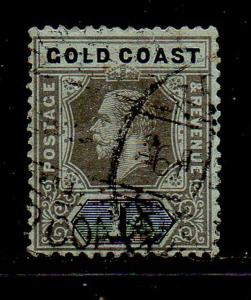 Gold Coast Sc 75 1913 1/ black on green George V stamp used