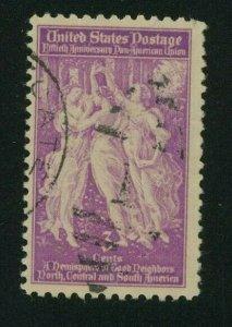 US 1940 3c bright rose purple Pan American Union, Scott 895 used,  Value = 35c