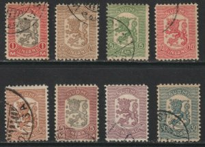 Sc# 111 / 118 1918 Finland Arms of the Republic Vasa issue used set CV $173.75