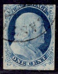 US Stamp #9 1c Franklin Imperf USED SCV $90.