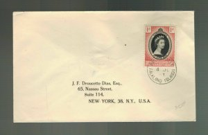 1953 Falkland Islands Queen Elizabeth II Coronation First Day cover to USA