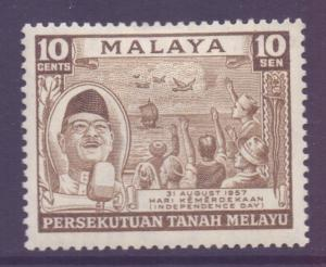 Malaya Federation Scott 84 - SG5, 1957 Independence Day 10c MH*