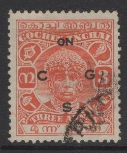 INDIA-COCHIN SGO53 1938 3a VERMILION USED
