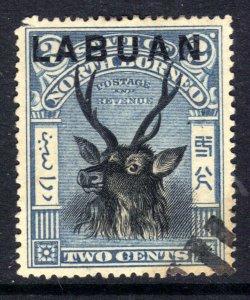 Labuan North Borneo 1897 - 01 QV 2ct Sambar Stag Ovpt used P16 SG 90e ( J727 )
