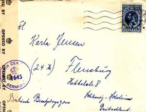 Denmark 40o Christian X 75th Birthday 1947 Holstebro to Flensburg, Germany.  ...
