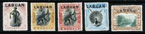 LABUAN QV 1897-02 LABUAN O'printed North Borneo SG 89, 112, 113, 114 & 116 MINT