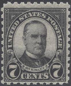 #588 7c William Mckinley  1926 Mint NH
