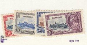 BARBADOS # 186-189 VF-MNH 1935  KING GEORGE V SILVER JUBILEE CAT VALUE $36