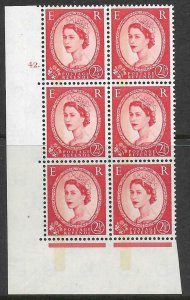 S64 - S614b 2½d Wilding 1 band left letterpress Type 1 Cyl 42 Dot UNMOUNTED MINT