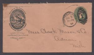 **US P/S Adv Cover Detroit, MI 7/9/1894 Excelsior Brand Hats, Hammond Standish