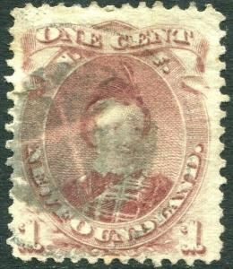 NEWFOUNDLAND-1871 1c Brown-Purple Sg 35 GOOD USED V30310