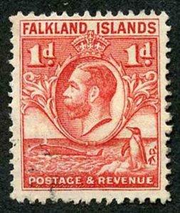 Falkland Island SG117a KGV 1d Penguin Line Perf Fine Used cat 14 pounds