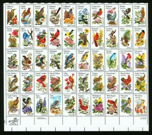 #2002C 1982 20c EFO State Birds & Flowers Color Shift Errors Full Sheet + #2002B
