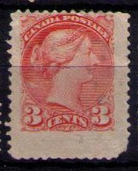 Canada Sc#37 Wide Winged Margins Used Fine QV 3c Org Red