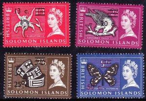BRITISH SOLOMON IS 1965 QEII 13c on 1/3, 20c on 2/-, 25c on 2/6, 50c on 5/- S...
