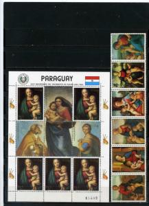 PARAGUAY 1982 CHRISTMAS PAINTINGS BY RAPHAEL SET OF 6 STAMPS & SHEET  MNH