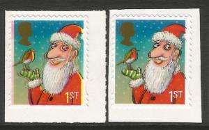 Error 2012 Christmas 1st Class S/A (ex booklet) colour shift & blurred effect UM