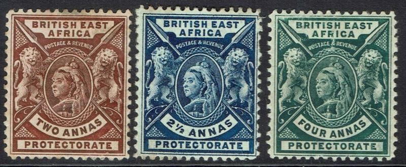 BRITISH EAST AFRICA 1896 QV LIONS 2A 21/2A AND 4A