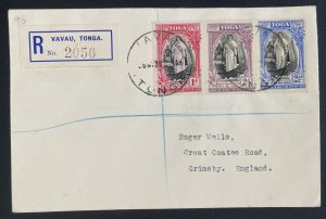 1939 Vavau Tonga Toga Registered Cover to Grimsby UK Queen Salote Tabou Stamps