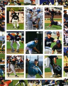 Tadjikistan 2000 Baseball Players Sheet Imperforated mnh.vf