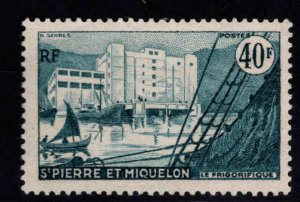 St. Pierre Miquuelon Scott 349  MH* top value in 1955 set