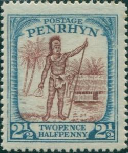 Cook Islands Penrhyn 1927 SG40 2½d Rarotongan Chief MLH