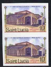 St Lucia 1986 St Ann Church 10c (Christmas) imperf pair u...