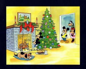 CAICOS IS - 1983 - DISNEY - CHRISTMAS - MICKEY - MINNIE - TREE ++ MINT S/SHEET!