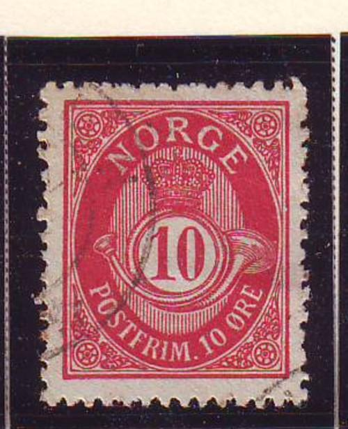 Norway Sc 51 1898 10 ore carmine ore post horn stamp used