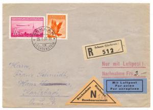 Liechtenstein, 1936 Zeppelin, 1 FR. on registered C.O.D. cover to Prague