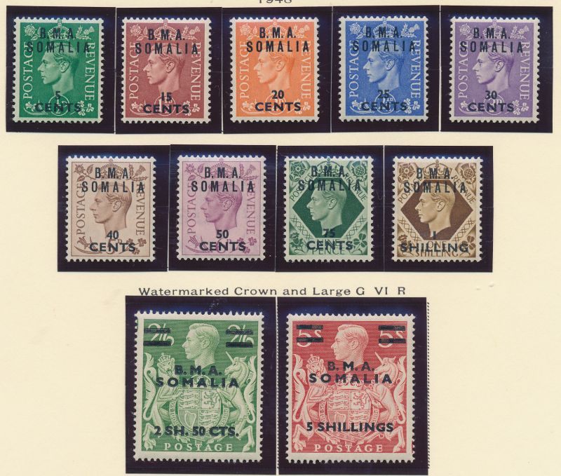 Great Britain, East Africa Forces, Somalia Stamp Scott #10-20, Mint Never Hin...