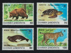 Greece Bear Turtle Seal Lynx Endangered Animals 4v SG#1837-1840